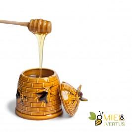 Cuillère à miel liquide en bois imbibée de miel